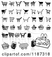 Clipart Of Different Styled Black And White Shopping Cart Website Icons Royalty Free Vector Illustration