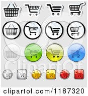 Clipart Of Different Styled Shopping Cart Website Icons Royalty Free Vector Illustration by dero