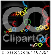 Clipart Of Colorful Gears On Black Design Elements Royalty Free Vector Illustration