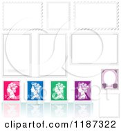 Clipart Of Colorful Queen Stamps And Reflections With Blank Designs Royalty Free Vector Illustration by dero
