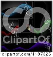 Clipart Of Colorful Bubble And Wave Design Elements On Black Royalty Free Vector Illustration