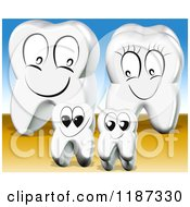Clipart Of A Happy 3d Tooth Family Over Blue And Brown Royalty Free CGI Illustration