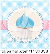 Clipart Of A Cupcake With Blue Frosting Over Gingham With Flowers And Polka Dots Royalty Free Illustration
