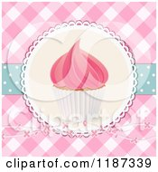 Clipart Of A Cupcake With Pink Frosting Over Pink Gingham With Flowers And Polka Dots Royalty Free Illustration