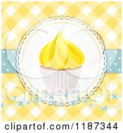 Clipart Of A Cupcake With Yellow Frosting Over Gingham With Flowers And Polka Dots Royalty Free Illustration