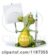 Clipart Of A 3d Crocodile Nurse With A Vaccine Syringe Over A Sign Royalty Free CGI Illustration