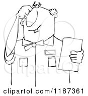 Cartoon Of An Outlined Thinking Buck Toothed Man Holding A Paper Royalty Free Vector Clipart