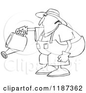 Cartoon Of An Outlined Chubby Man Bending Over To Water A Garden Royalty Free Vector Clipart