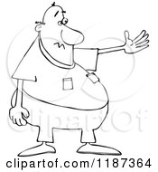 Cartoon Of An Outlined Chubby Man Presenting Royalty Free Vector Clipart