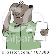 Cartoon Of A Thinking Buck Toothed Black Man Holding A Paper Royalty Free Vector Clipart
