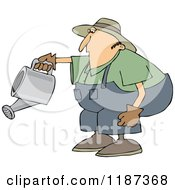Chubby White Man Bending Over To Water A Garden