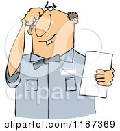 Cartoon Of A Thinking Buck Toothed White Man Holding A Paper Royalty Free Vector Clipart