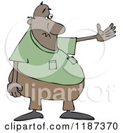 Cartoon Of A Chubby Black Man Presenting Royalty Free Vector Clipart