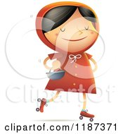 Cartoon Of Little Red Riding Hood Roller Skating With A Basket On Her Arm Royalty Free Vector Clipart