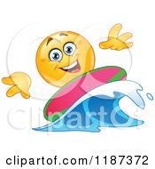 Cartoon Of A Yellow Emoticon Smiley Surfer Riding A Wave Royalty Free Vector Clipart