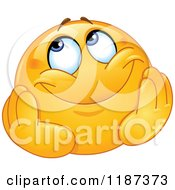 Cartoon Of A Yellow Emoticon Smiley With A Dreamy Expression Royalty Free Vector Clipart