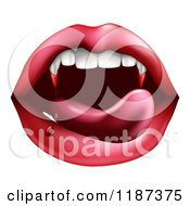 Clipart Of A Vampiress Mouth With Bloody Fangs Royalty Free Vector Illustration by AtStockIllustration