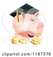 Cartoon Of A Graduate Piggy Bank With Gold Coins Royalty Free Vector Clipart