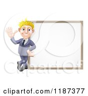 Cartoon Of A Friendly Blond Businessman Waving By A White Board Royalty Free Vector Clipart