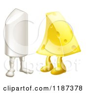 Cartoon Of Chalk And Cheese Mascots Attracted To Each Other Royalty Free Vector Clipart by AtStockIllustration