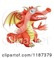 Cartoon Of A Presenting Red Dragon Royalty Free Vector Clipart