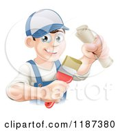 Cartoon Of A Happy Young Painter Holding A Certificate And Brush Royalty Free Vector Clipart