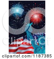 Cartoon Of Fourth Of July Fireworks With The Statue Of Liberty And American Flag Royalty Free Vector Clipart