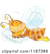 Cartoon Of A Cute Queen Bee Sleeping On A Pillow Royalty Free Vector Clipart by Pushkin
