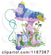 Cartoon Of A Caterpillar Smoking A Hookah On A Mushroom Royalty Free Vector Clipart