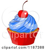 Cartoon Of A Patriotic Fourth Of July Cupcake With A Cherry On Top Royalty Free Vector Clipart by Pushkin