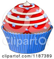 Cartoon Of A Patriotic Fourth Of July Cupcake With Swirl Frosting And Stars Royalty Free Vector Clipart by Pushkin