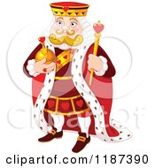 Cartoon Of A King Of Hearts Holding A Staff Royalty Free Vector Clipart by Pushkin
