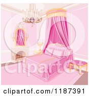 Cartoon Of A Pink Princess Bedroom With A Fireplace Chandelier And Bed Curtain Royalty Free Vector Clipart