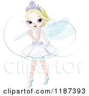 Happy Blond Tooth Fairy Girl Looking Over Her Shoulder And Toothbrush Wand