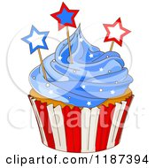Cartoon Of A Patriotic Fourth Of July Cupcake With Blue Frosting And Stars Royalty Free Vector Clipart by Pushkin