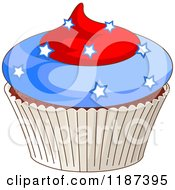 Cartoon Of A Patriotic Fourth Of July Cupcake With Stars Royalty Free Vector Clipart by Pushkin