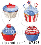 Cartoon Of Patriotic Fourth Of July Cupcakes Royalty Free Vector Clipart by Pushkin