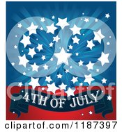 Burst Of White Stars Over Blue Rays And A 4th Of July Banner On Red