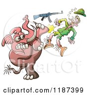 Cartoon Of A Mad Elephant Knocking Out A Hunters Teeth Royalty Free Vector Clipart by Zooco