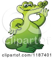 Cartoon Of A Chubby Green Crocodile Waving Royalty Free Vector Clipart by Zooco
