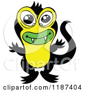 Cartoon Of A Cute Black And Yellow Japanese Triton Monster Royalty Free Vector Clipart by Zooco