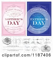 Clipart Of Blue And Pink Happy Mothers And Fathers Day Invites With Swirls And Design Elements Over A Floral Pattern Royalty Free Vector Illustration