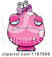 Cartoon Of A Depressed Pink Female Monster Royalty Free Vector Clipart by Cory Thoman