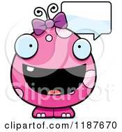 Cartoon Of A Talking Pink Female Monster Royalty Free Vector Clipart by Cory Thoman