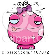 Cartoon Of A Drunk Pink Female Monster Royalty Free Vector Clipart by Cory Thoman
