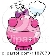 Cartoon Of A Dreaming Pink Female Monster Royalty Free Vector Clipart by Cory Thoman