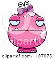 Cartoon Of A Bored Pink Female Monster Royalty Free Vector Clipart by Cory Thoman