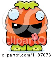 Cartoon Of A Excited Furry Monster Royalty Free Vector Clipart