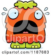 Cartoon Of A Scared Furry Monster Royalty Free Vector Clipart