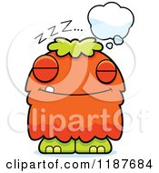 Cartoon Of A Dreaming Furry Monster Royalty Free Vector Clipart